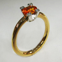 Bague saphir mandarine 0ct83 diamants ...
